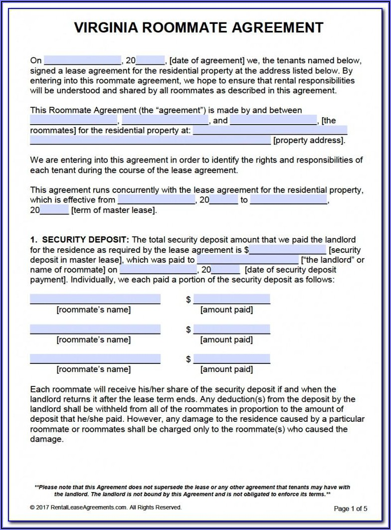 Virginia Lease Agreement Template