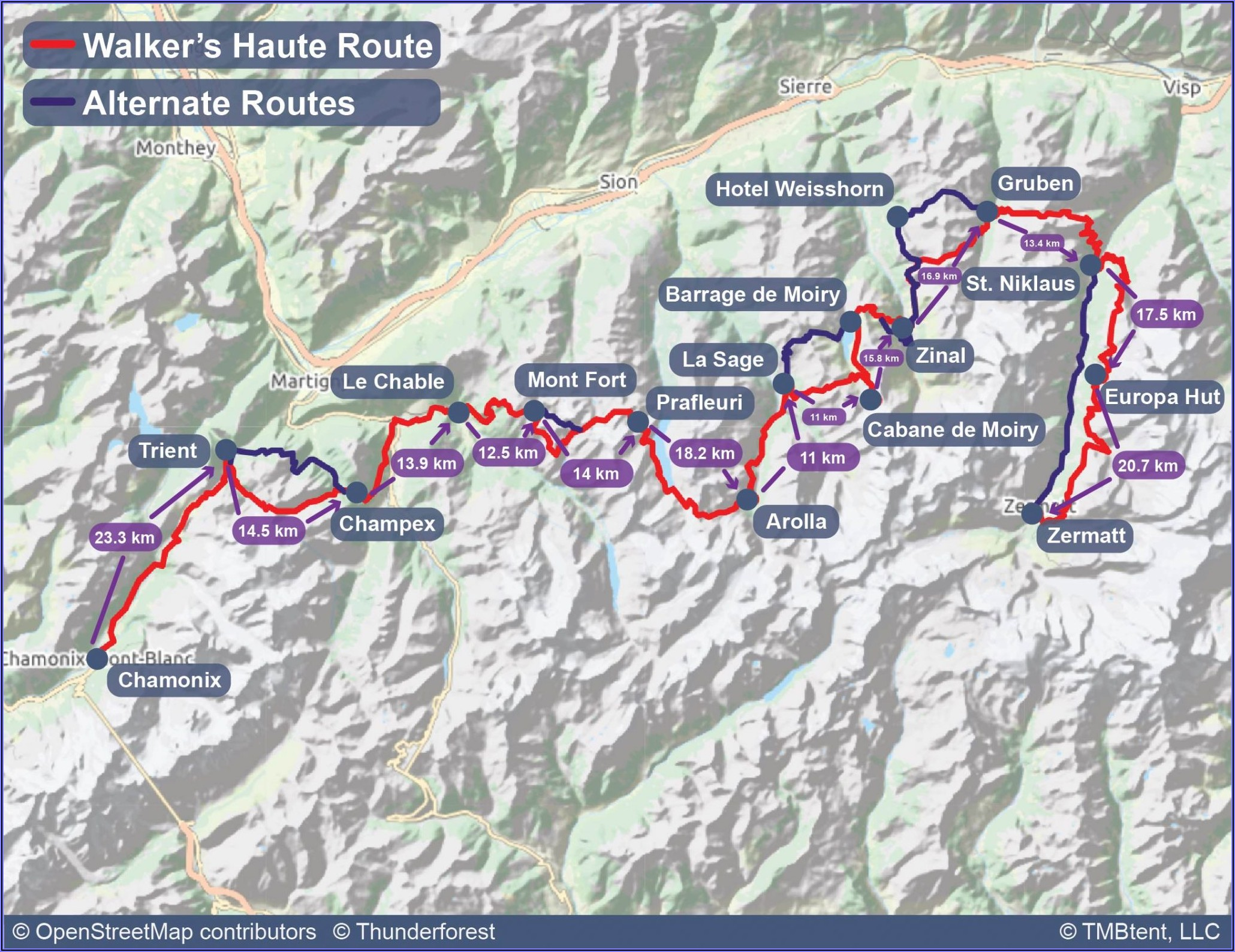Walkers Haute Route Map