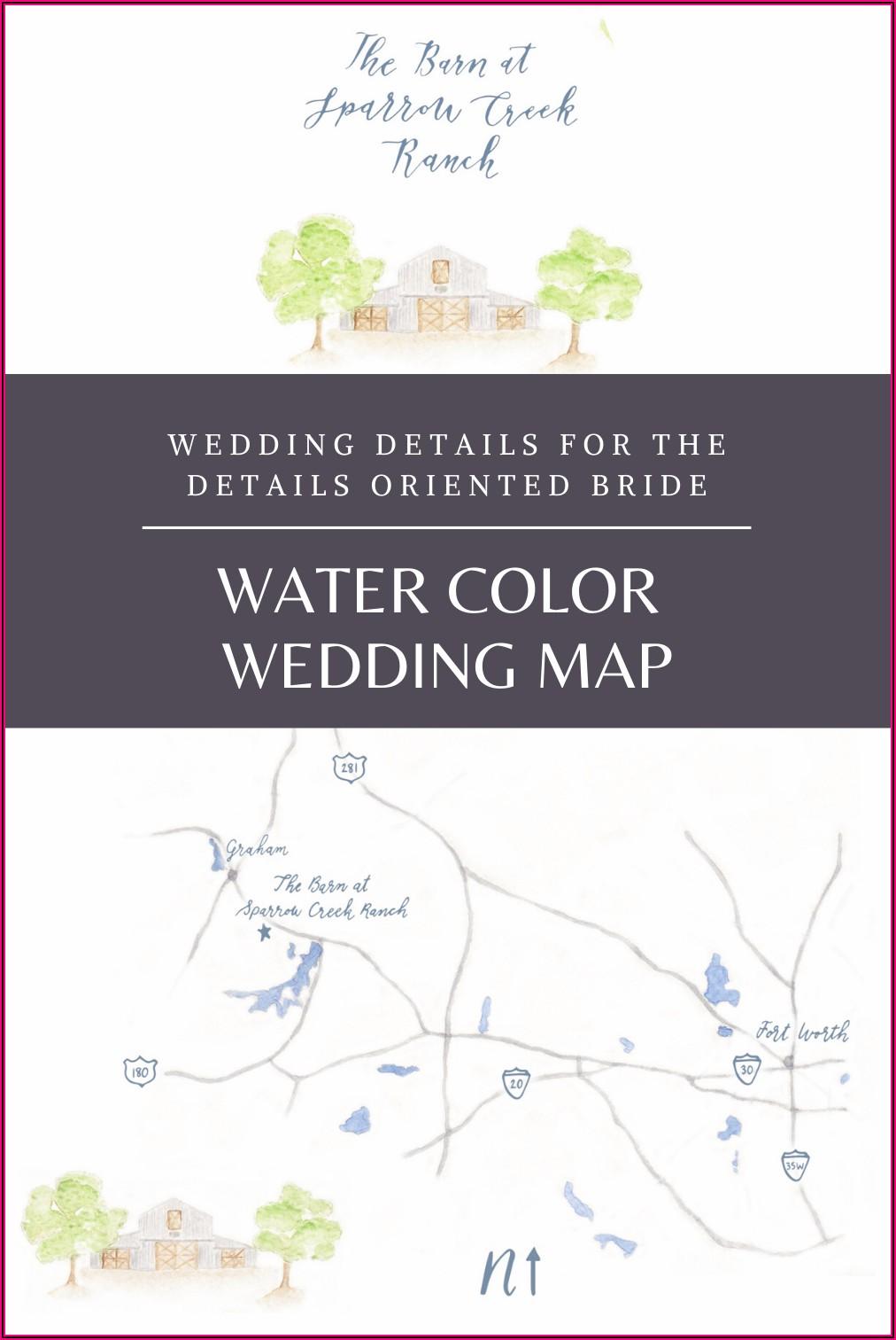 Watercolor Map Wedding Invites