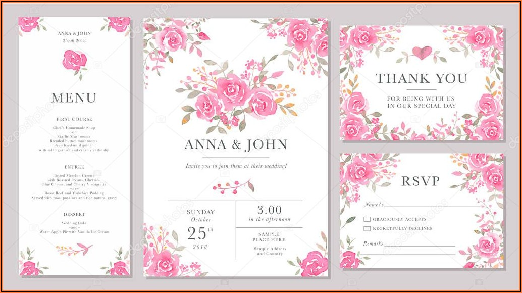 Wedding Invitation Templates Flowers
