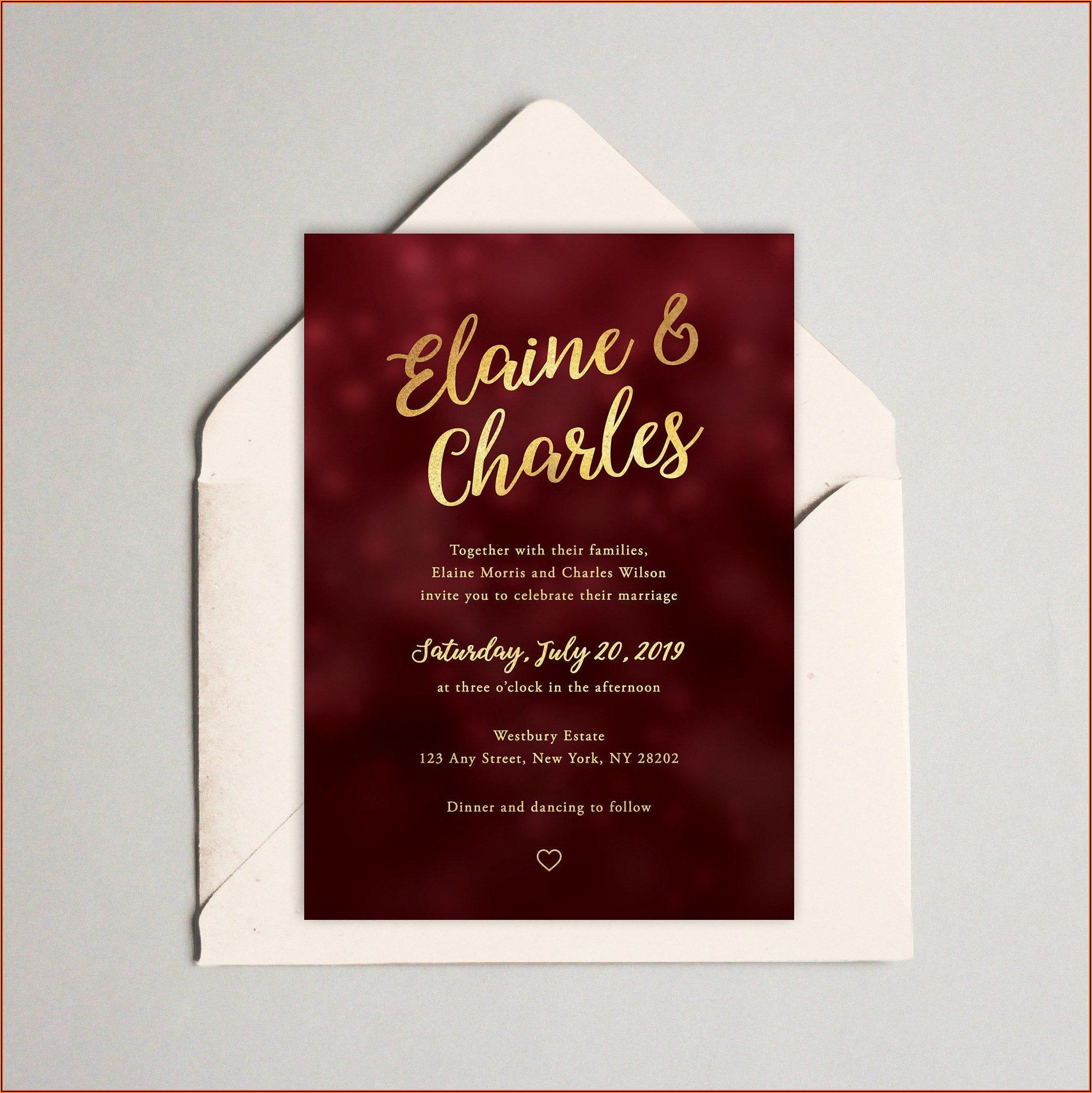 Wedding Invitation Templates Red And Gold