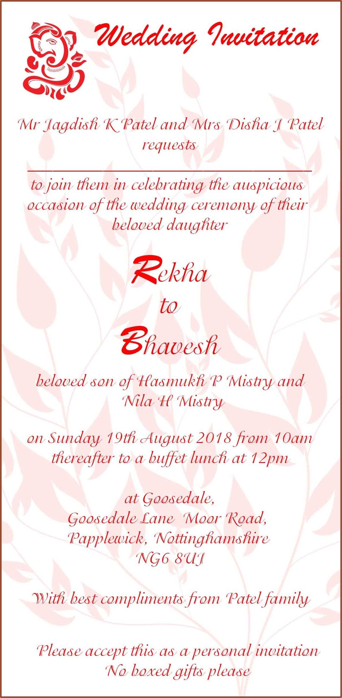 Wedding Invitation Wording Templates Indian