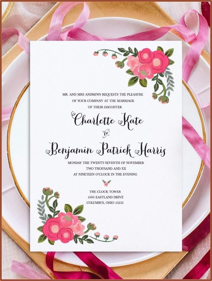 Wedding Invitations Flowers Templates Free
