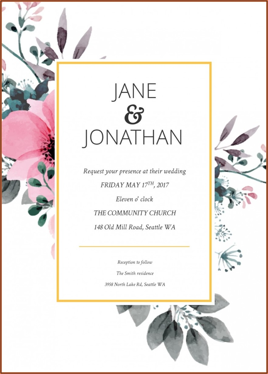 Wedding Invitations Templates Free Photoshop