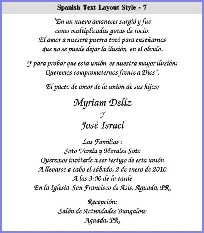 Wedding Invitations Wording Samples In Spanish