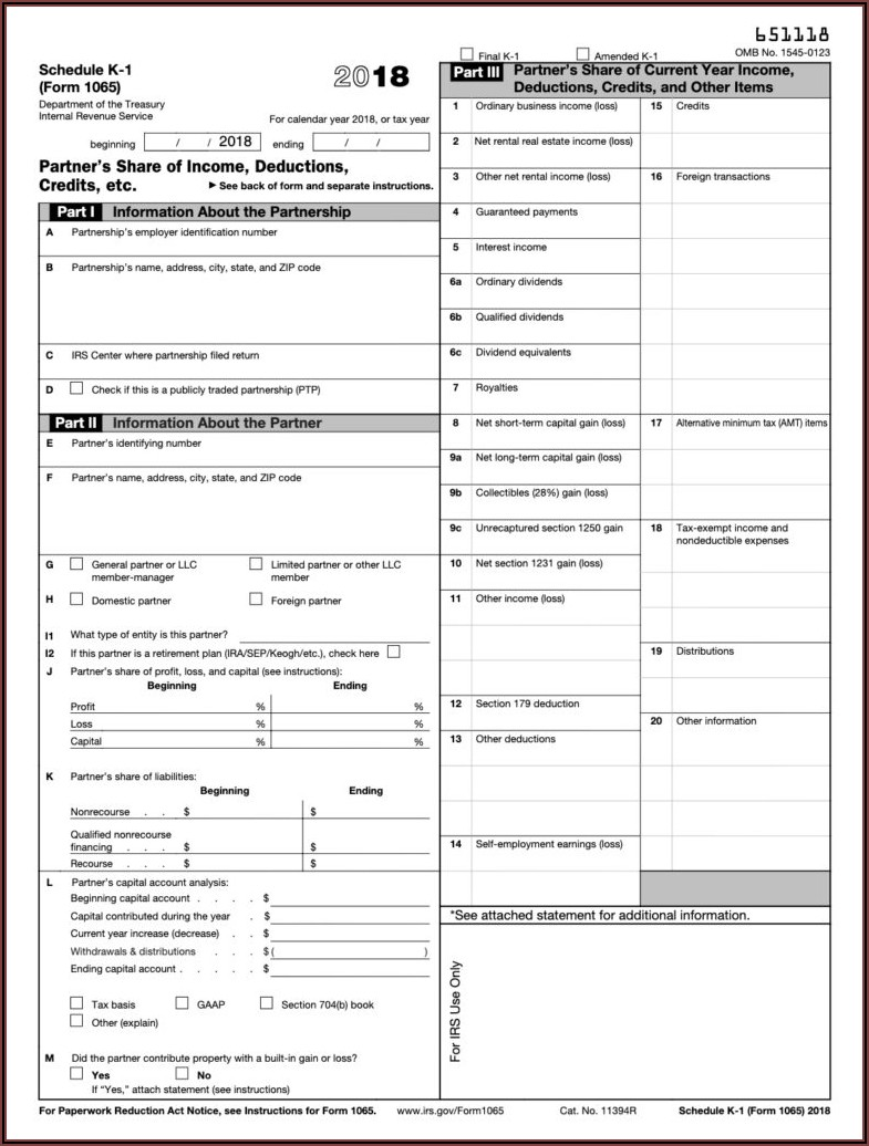 What Is A K1 Form For Irs