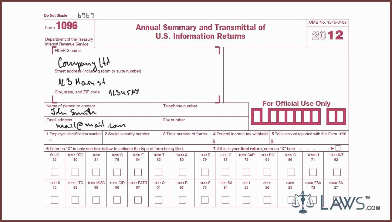 Where To Send 1096 And 1099 Forms