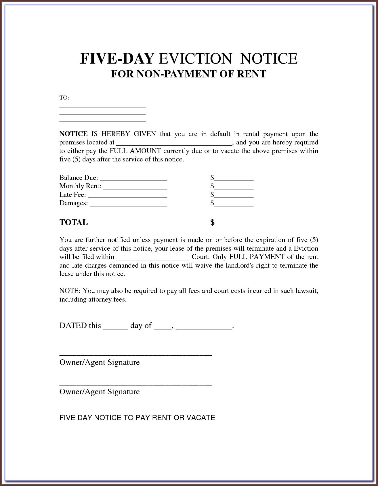 Wisconsin 5 Day Eviction Notice Form