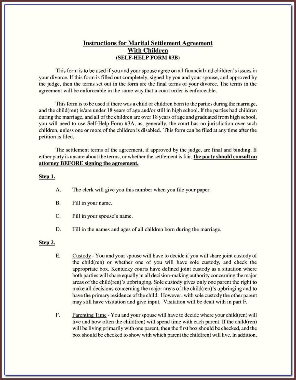 Wisconsin Divorce Forms Marital Settlement Agreement
