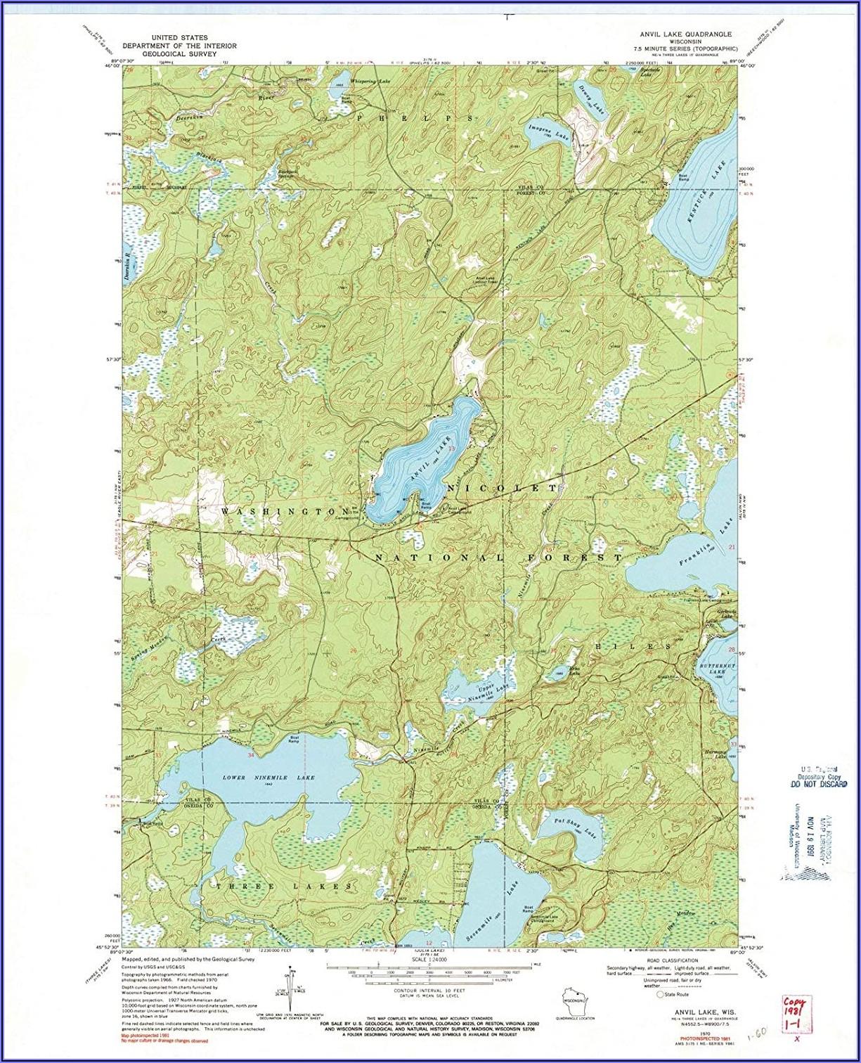 Wisconsin Topographic Lake Maps
