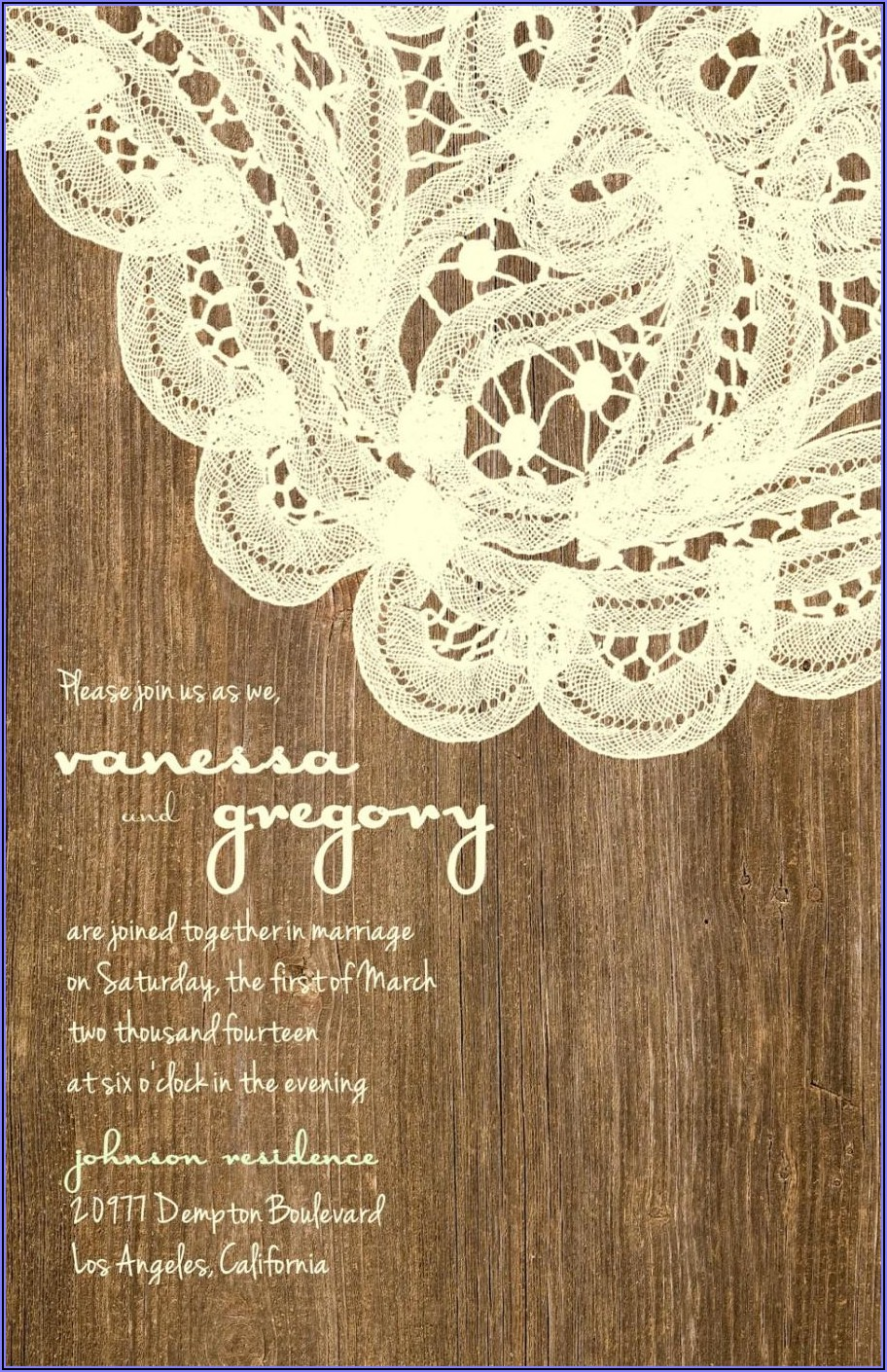 Wood And Lace Wedding Invitations