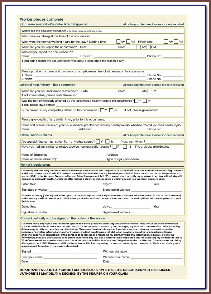 Workers Compensation Claim Form Nsw