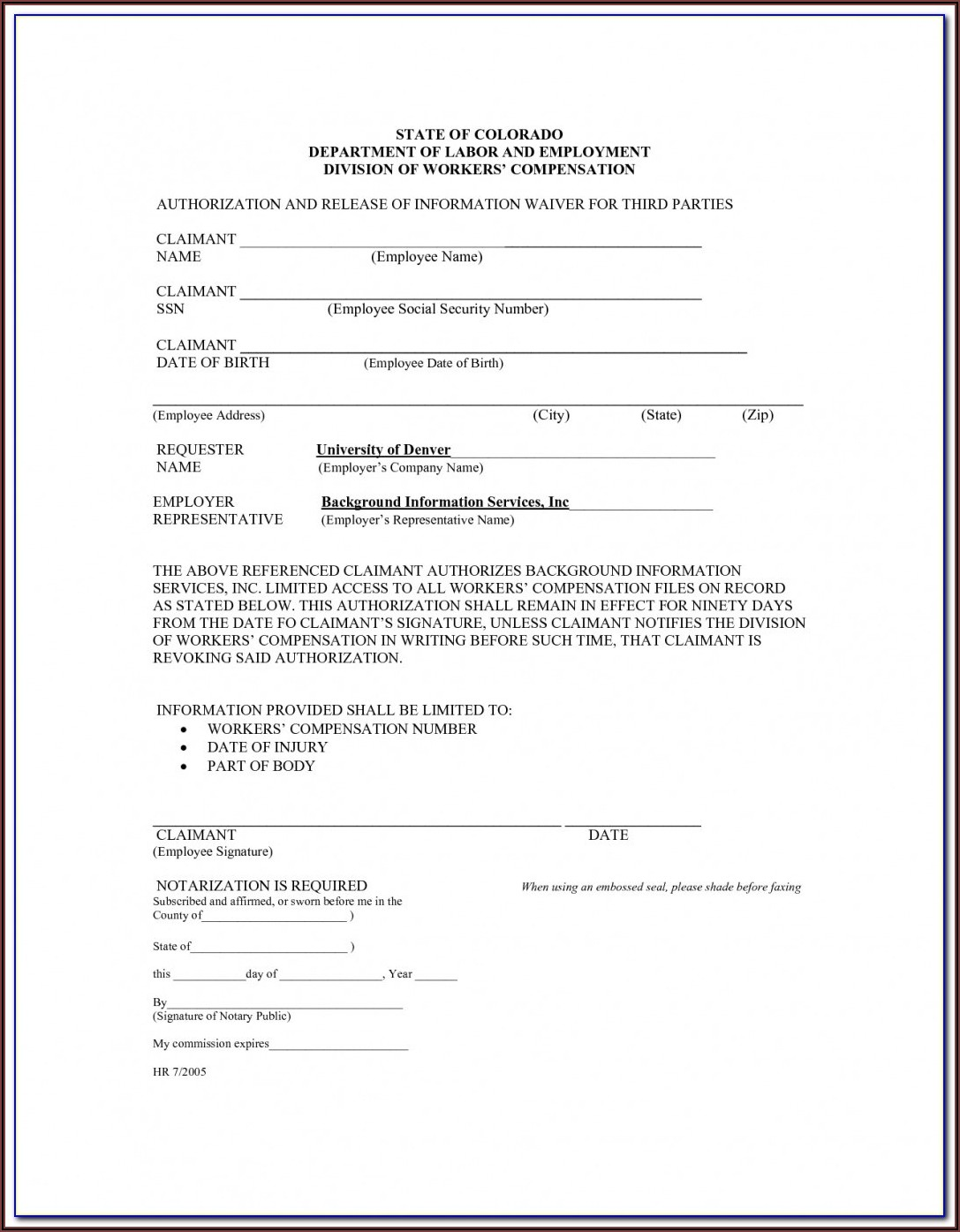 Workers Compensation Texas Waiver Form