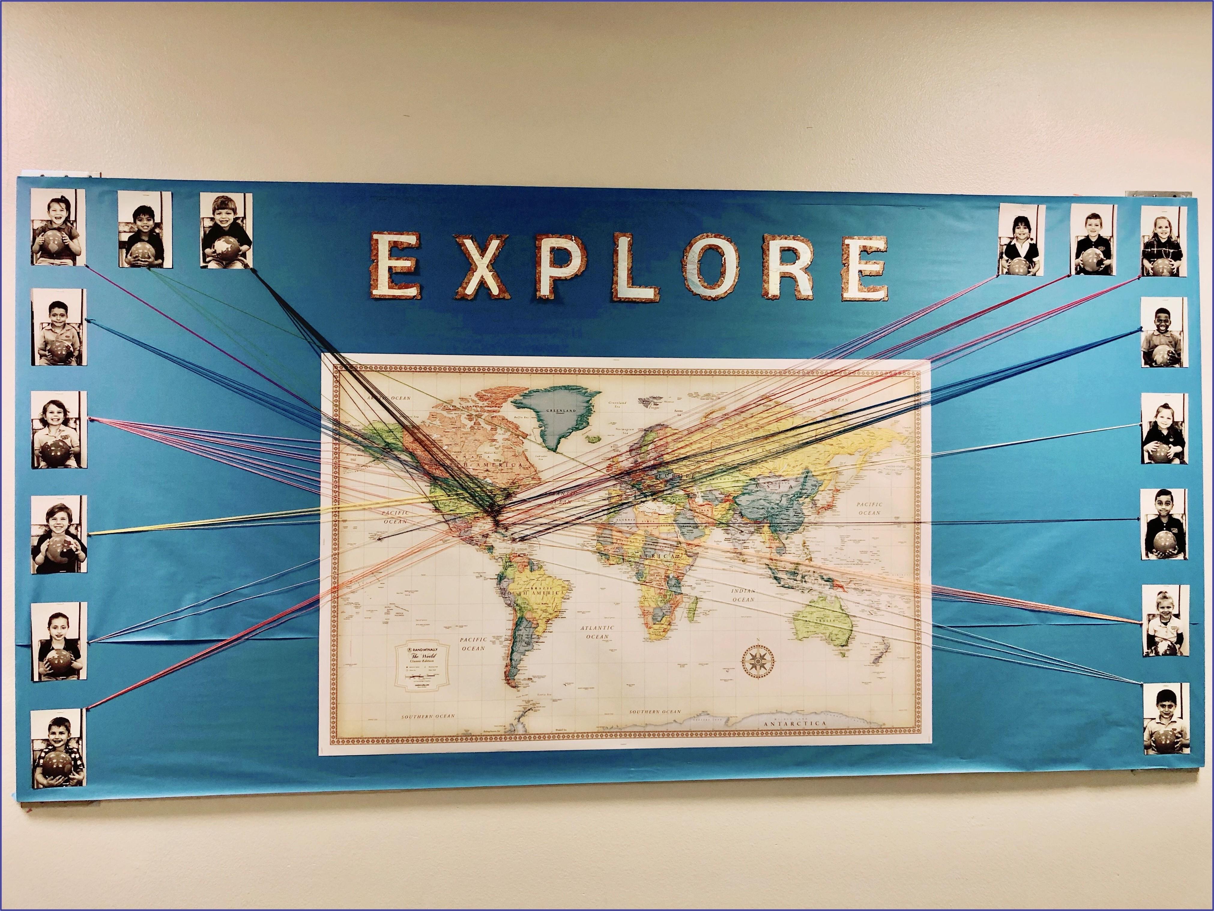 World Map Bulletin Board