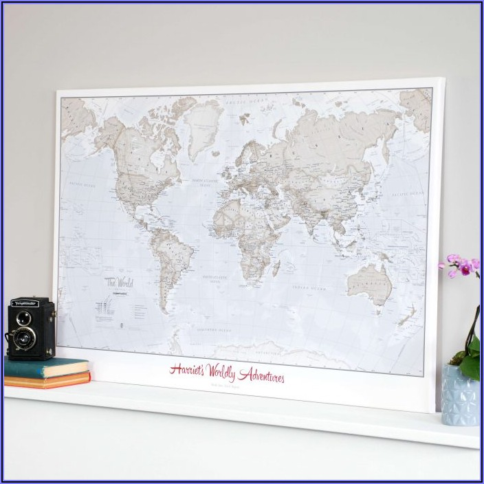 World Map Cork Board Australia