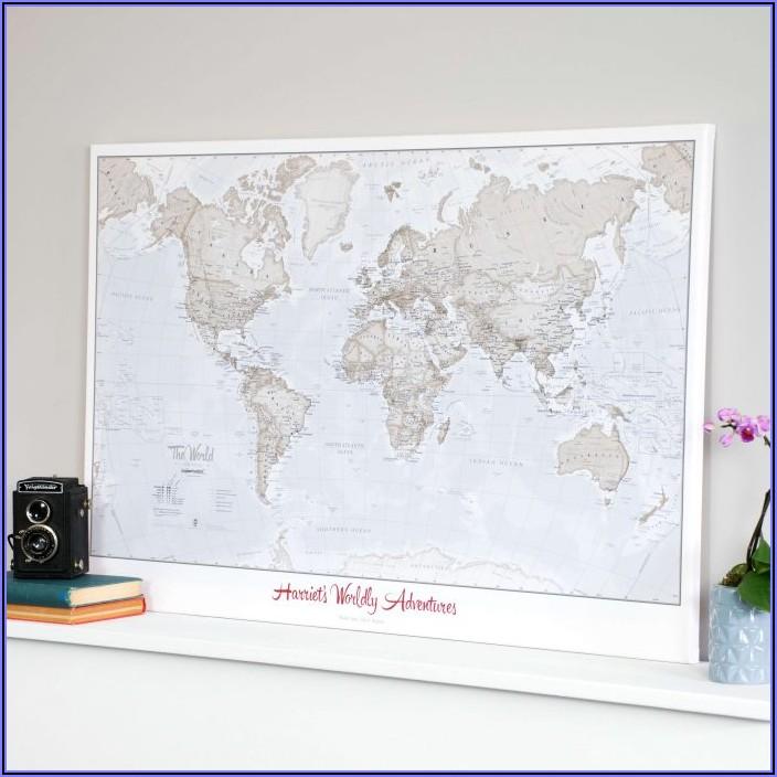 World Map Cork Board Australia