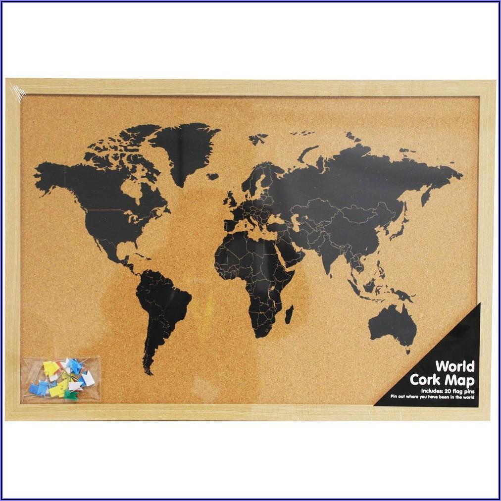 World Map Cork Board The Works