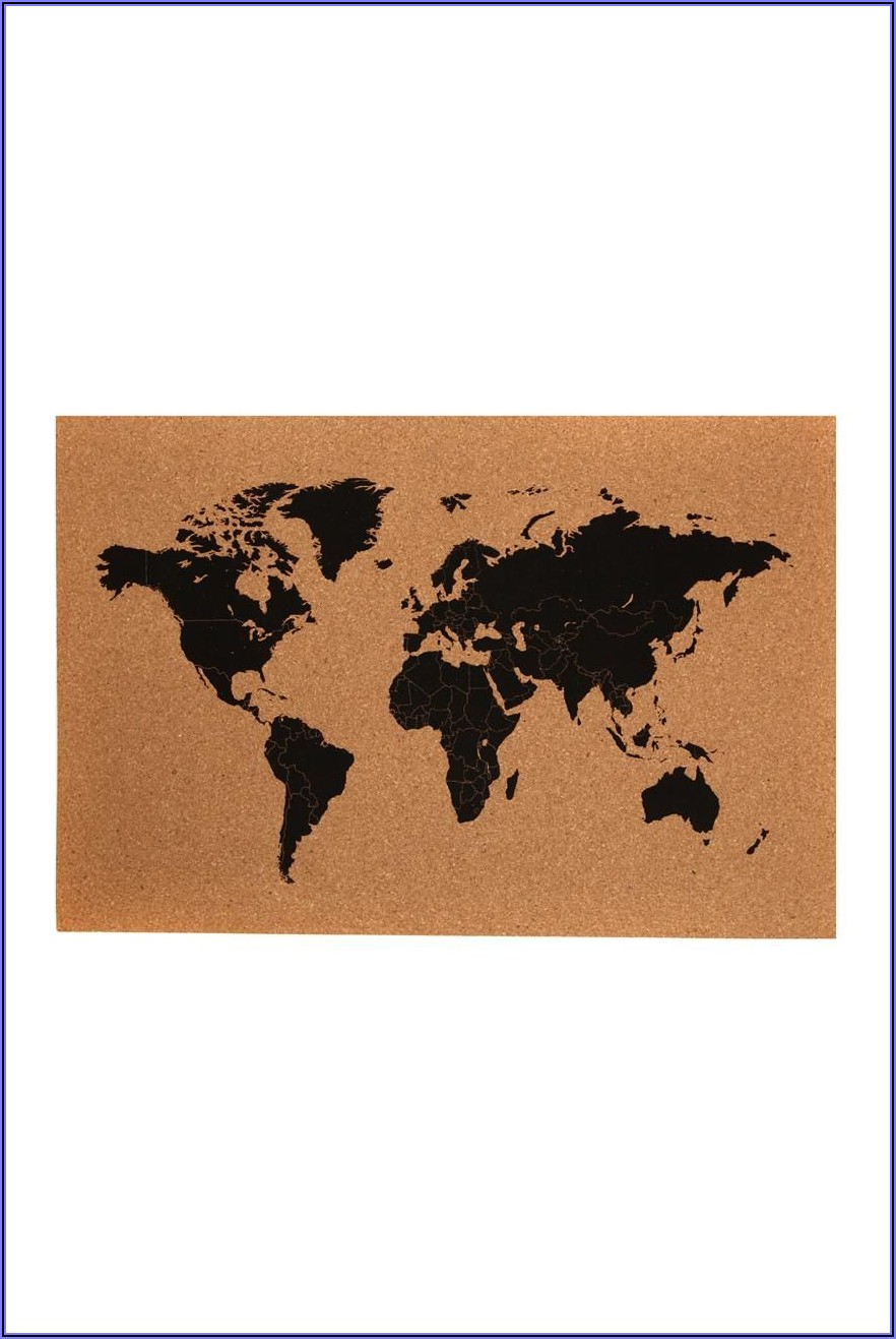 World Map Cork Board Typo