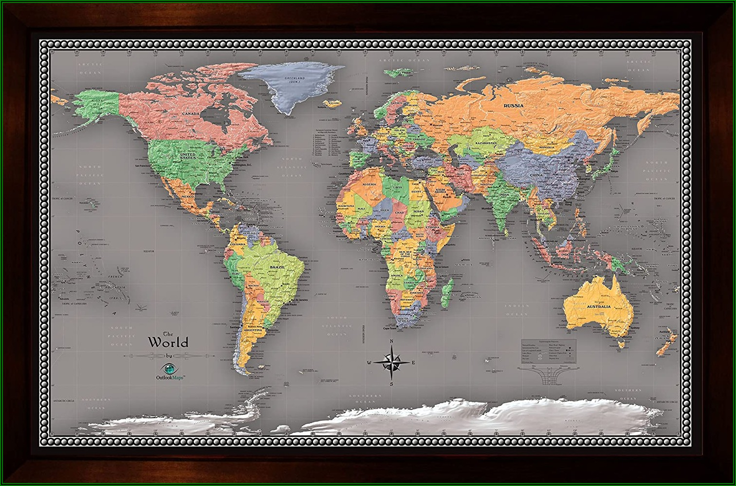 World Map Framed Poster Wall Art 37x25 Brown