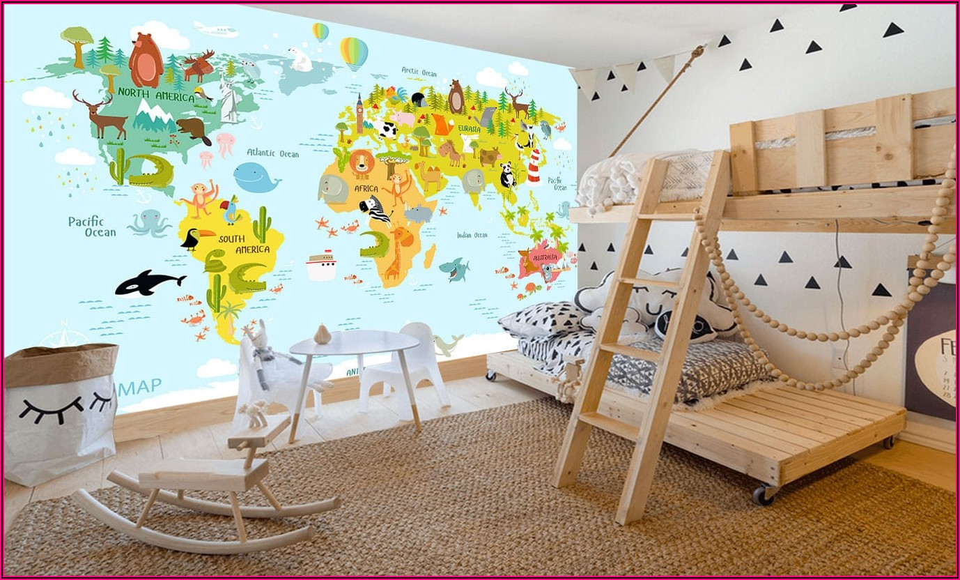 World Map Mural Wallpaper