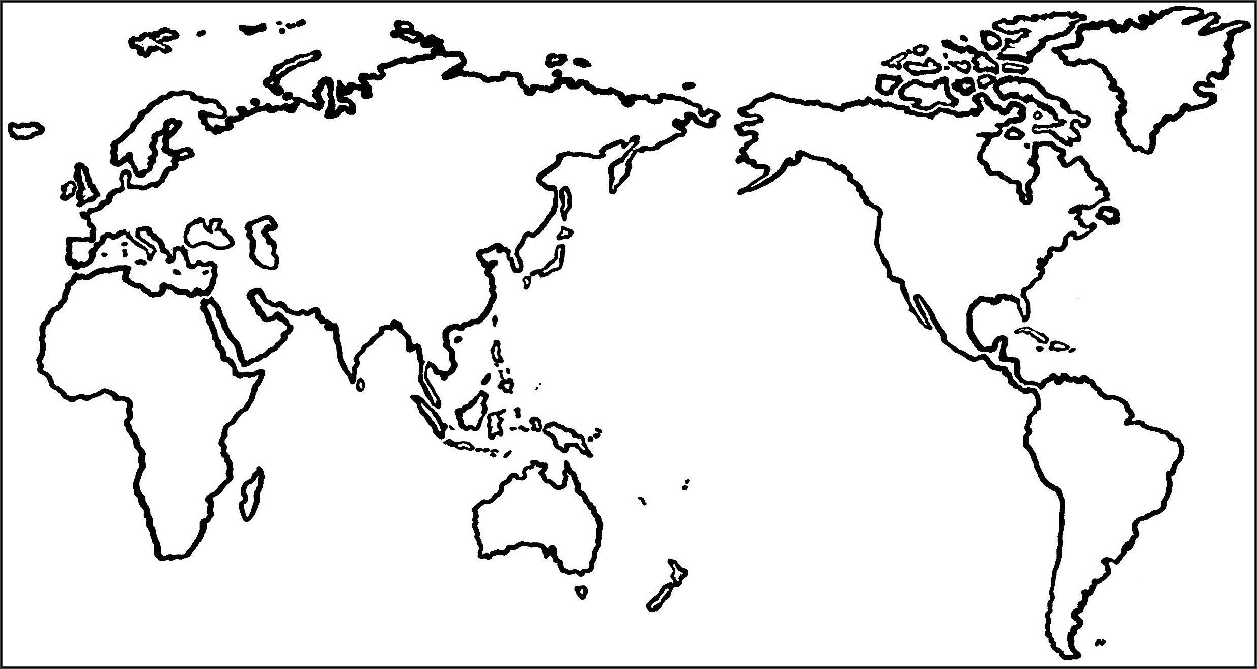 World Map Outline Pacific Centred