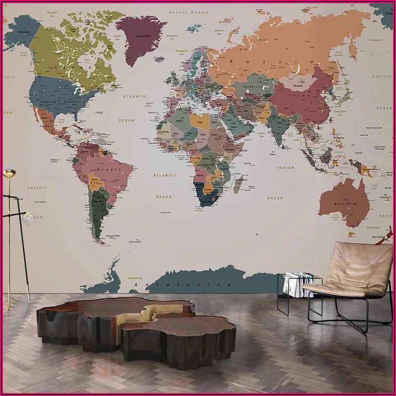 World Map Wall Mural Wallpaper