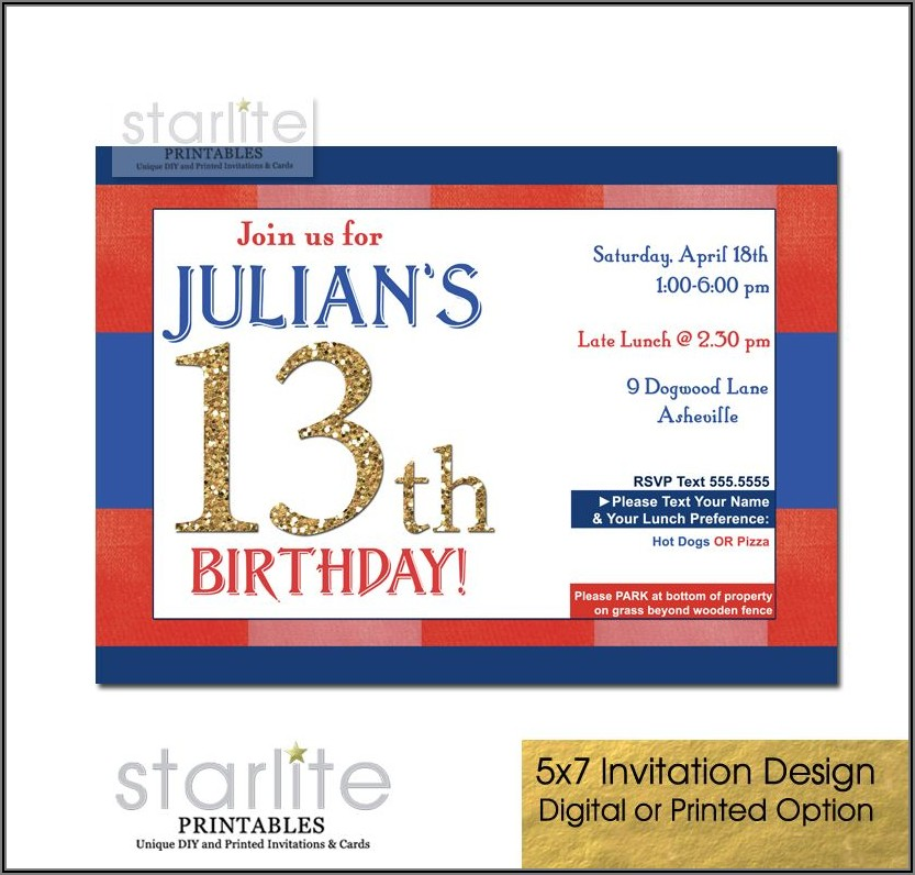 13th Birthday Invitations Boy