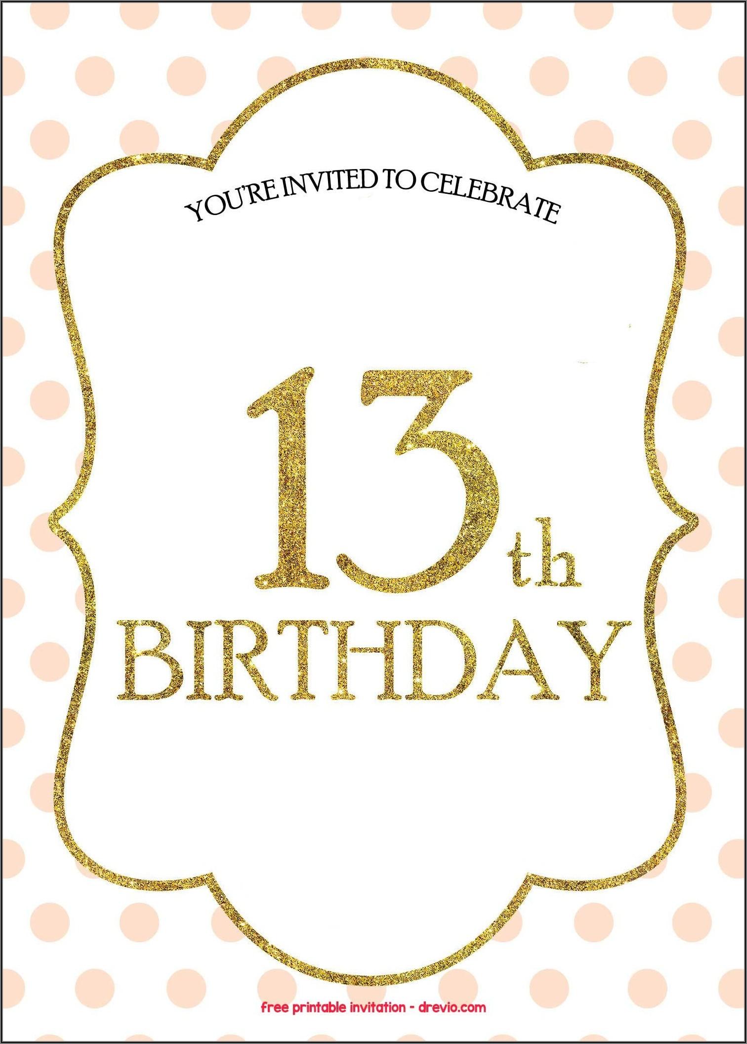 13th Birthday Invitations Free Templates