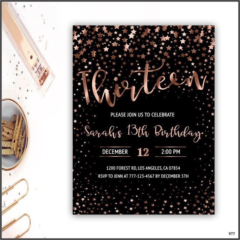 13th Birthday Invitations Girl