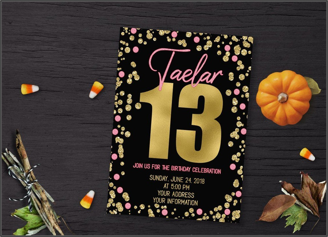 13th Birthday Party Girl Invitations