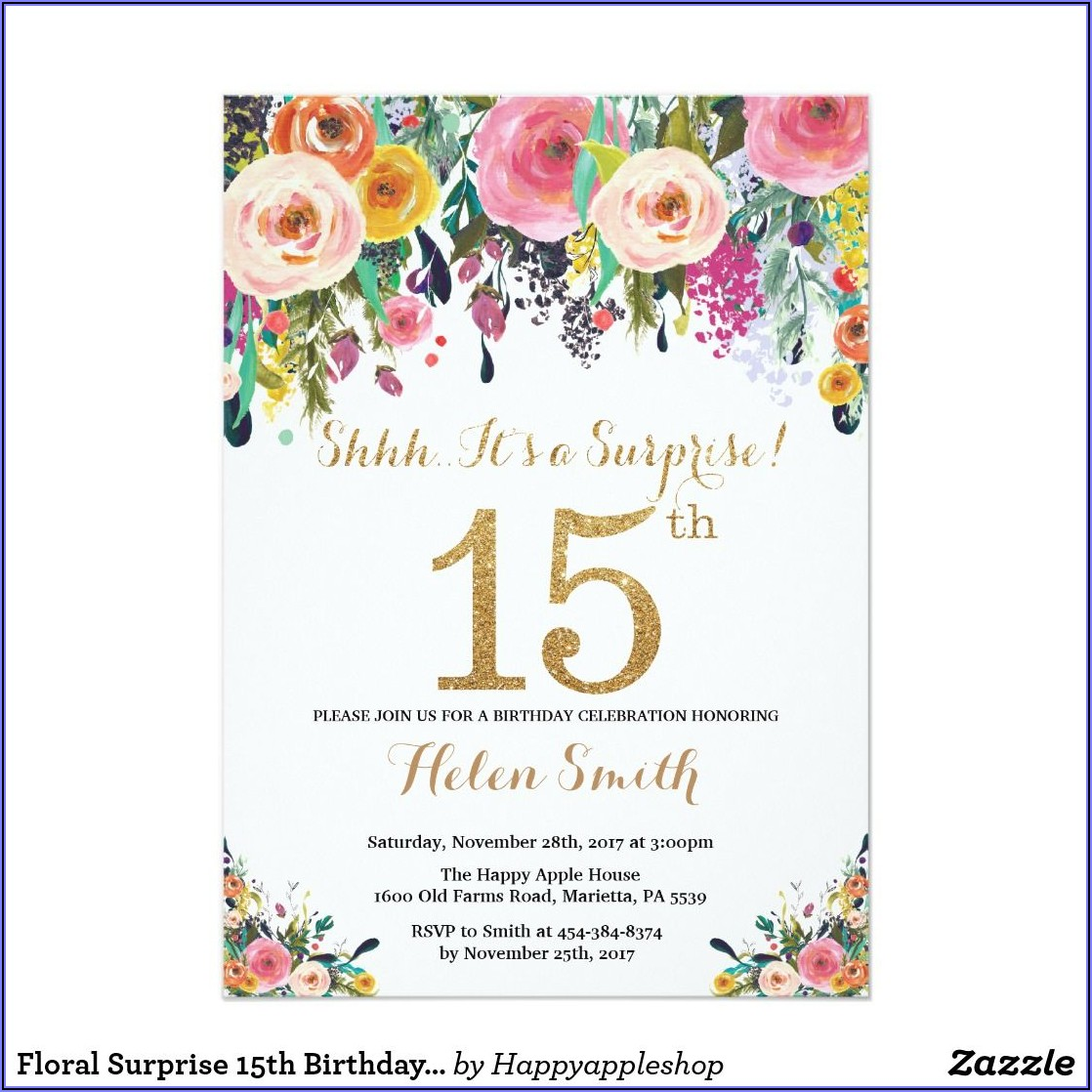 15th Birthday Invitations Free Printable