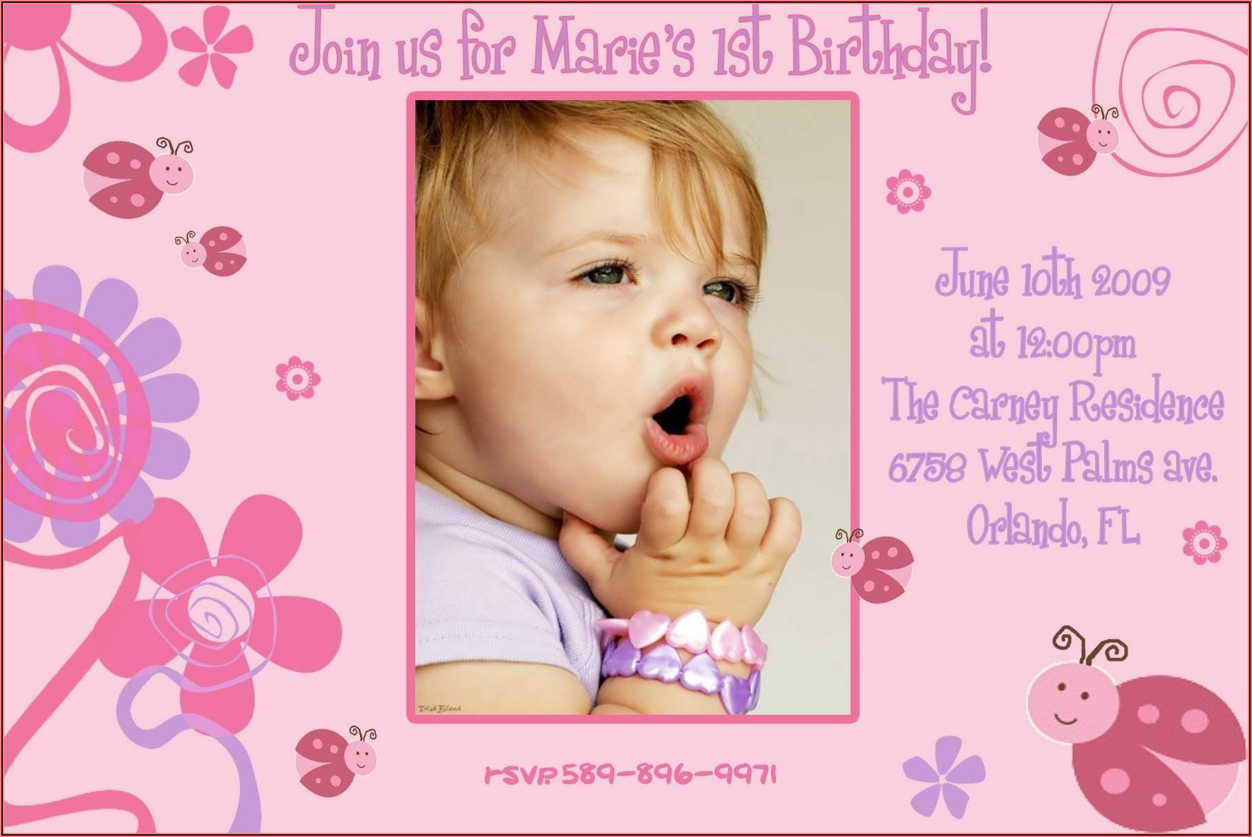 1st Birthday Invitation Card For Baby Girl Free Download