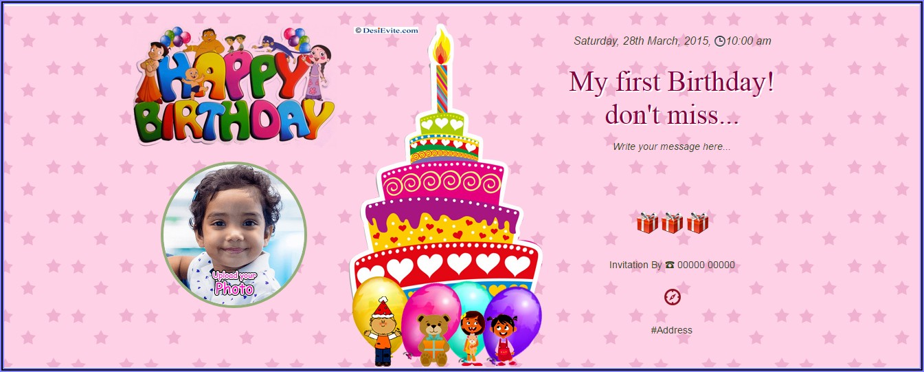 1st Birthday Invitation Card Message In Marathi