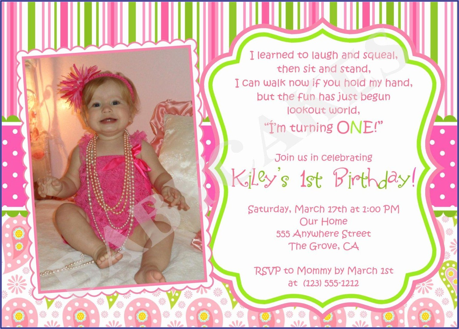 1st Birthday Invitation Text Message Sample