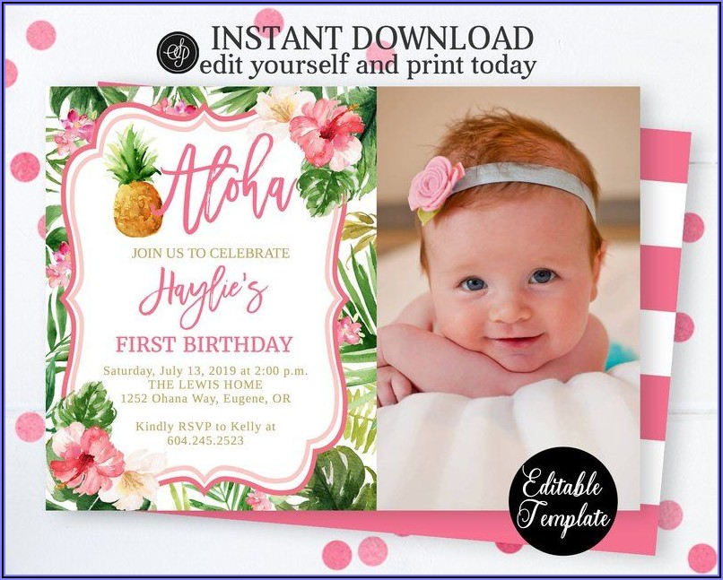 1st Birthday Luau Invitations