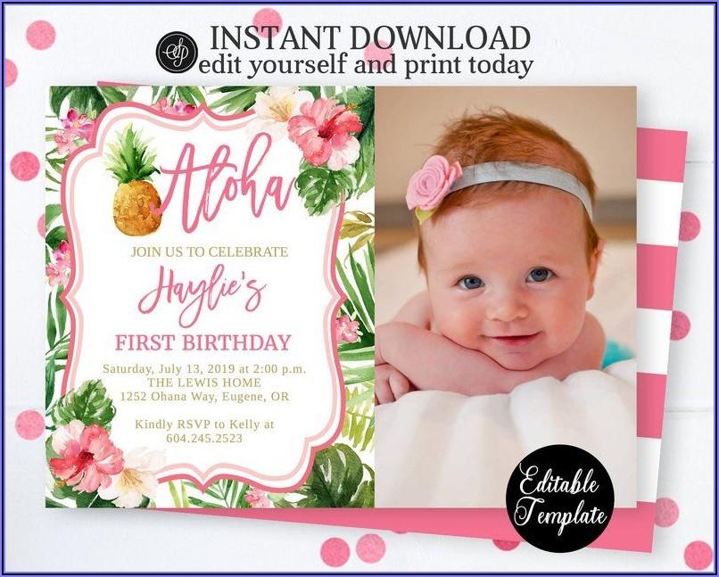 1st Birthday Luau Invitations
