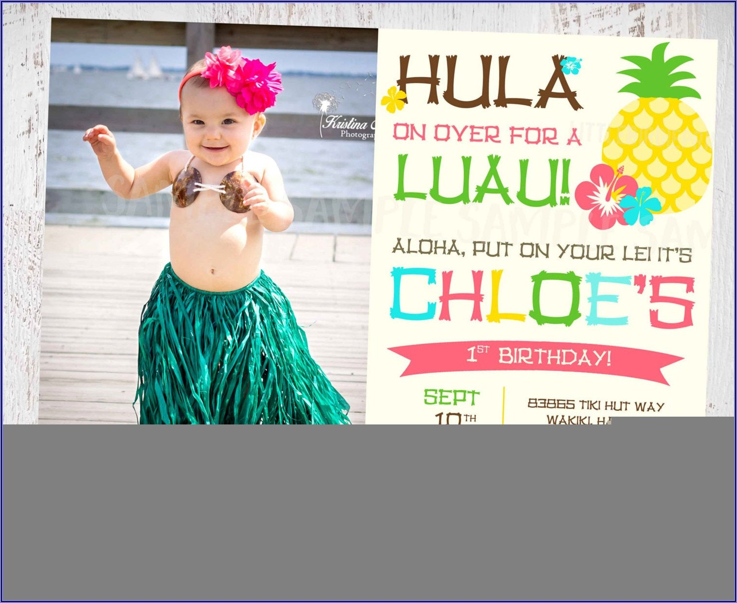 1st Birthday Luau Party Invitations