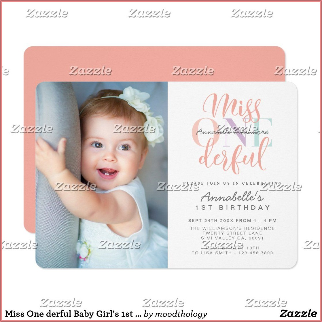 1st Birthday Photo Invitation Girl