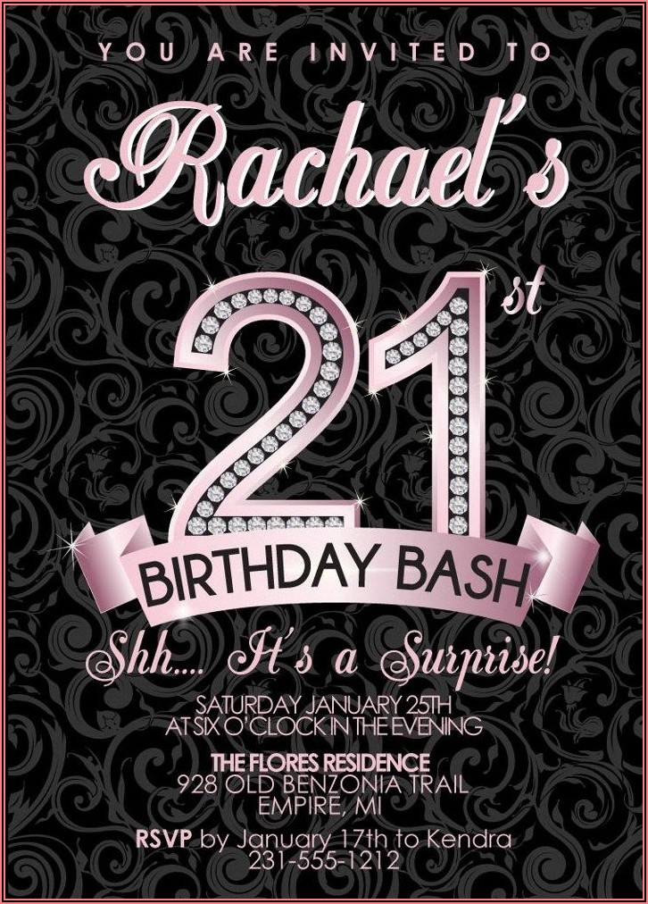 21st Birthday Photo Invitations Designs