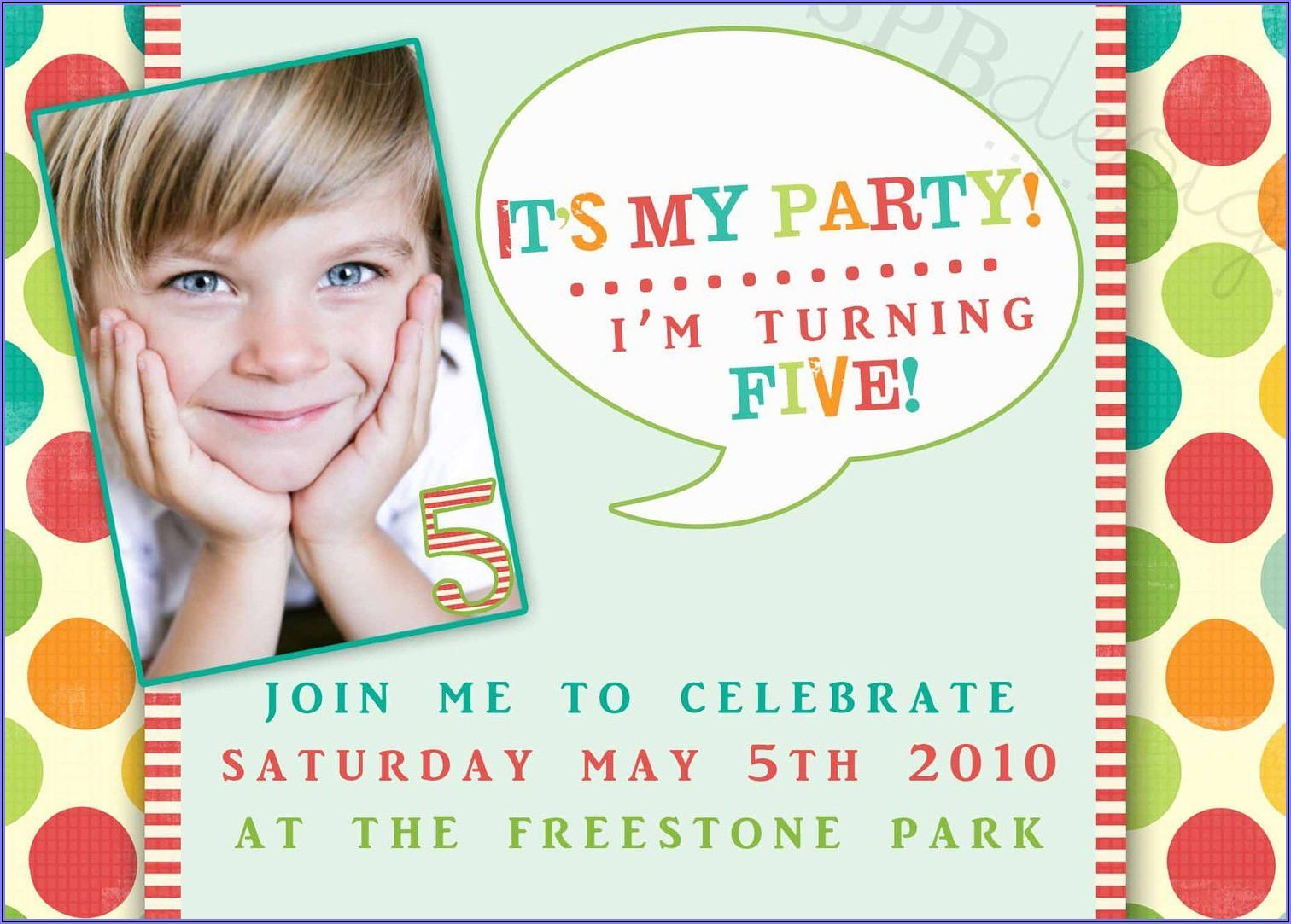 5th Birthday Invitation Text Message