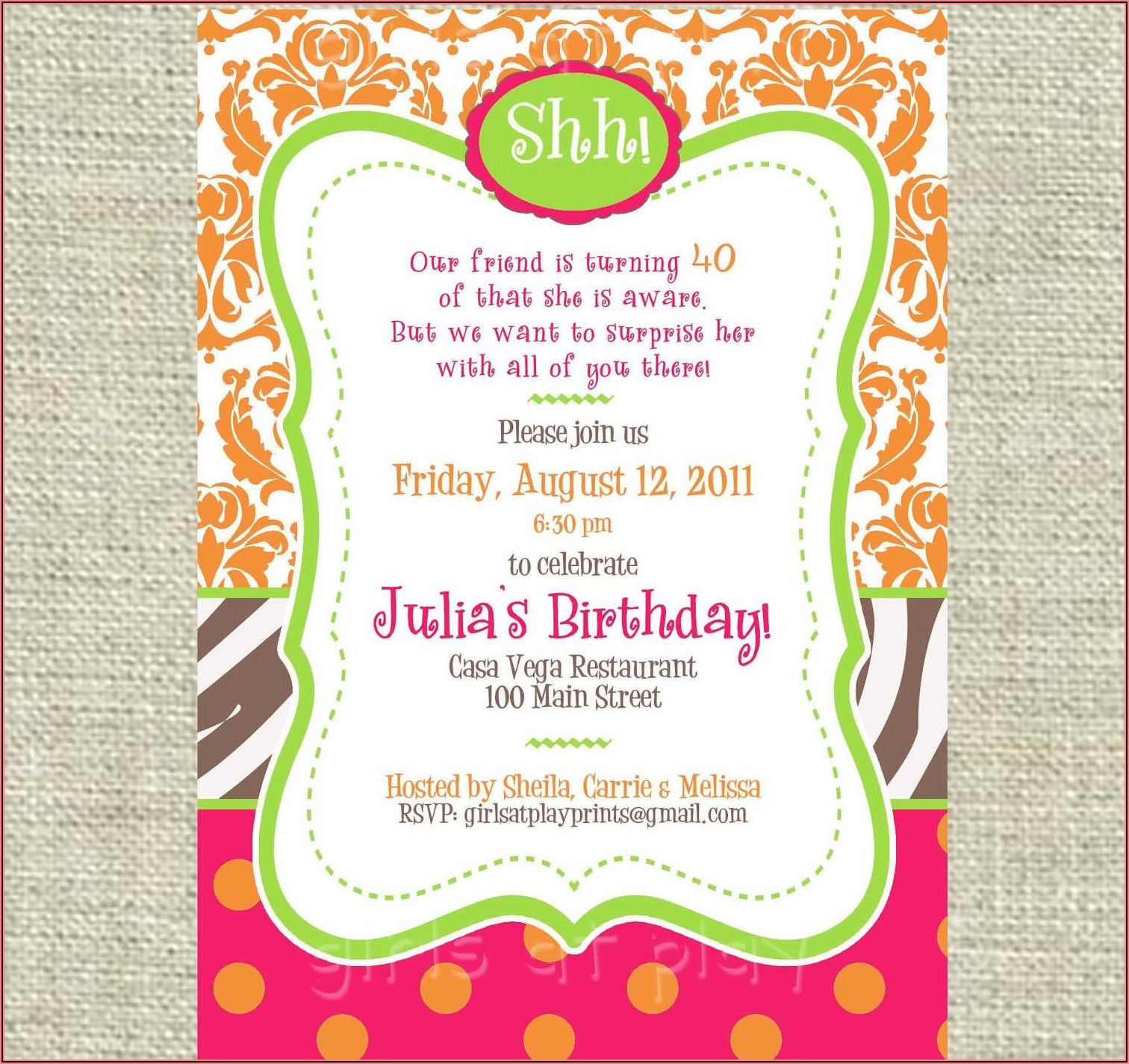 Animal Print Birthday Invitations