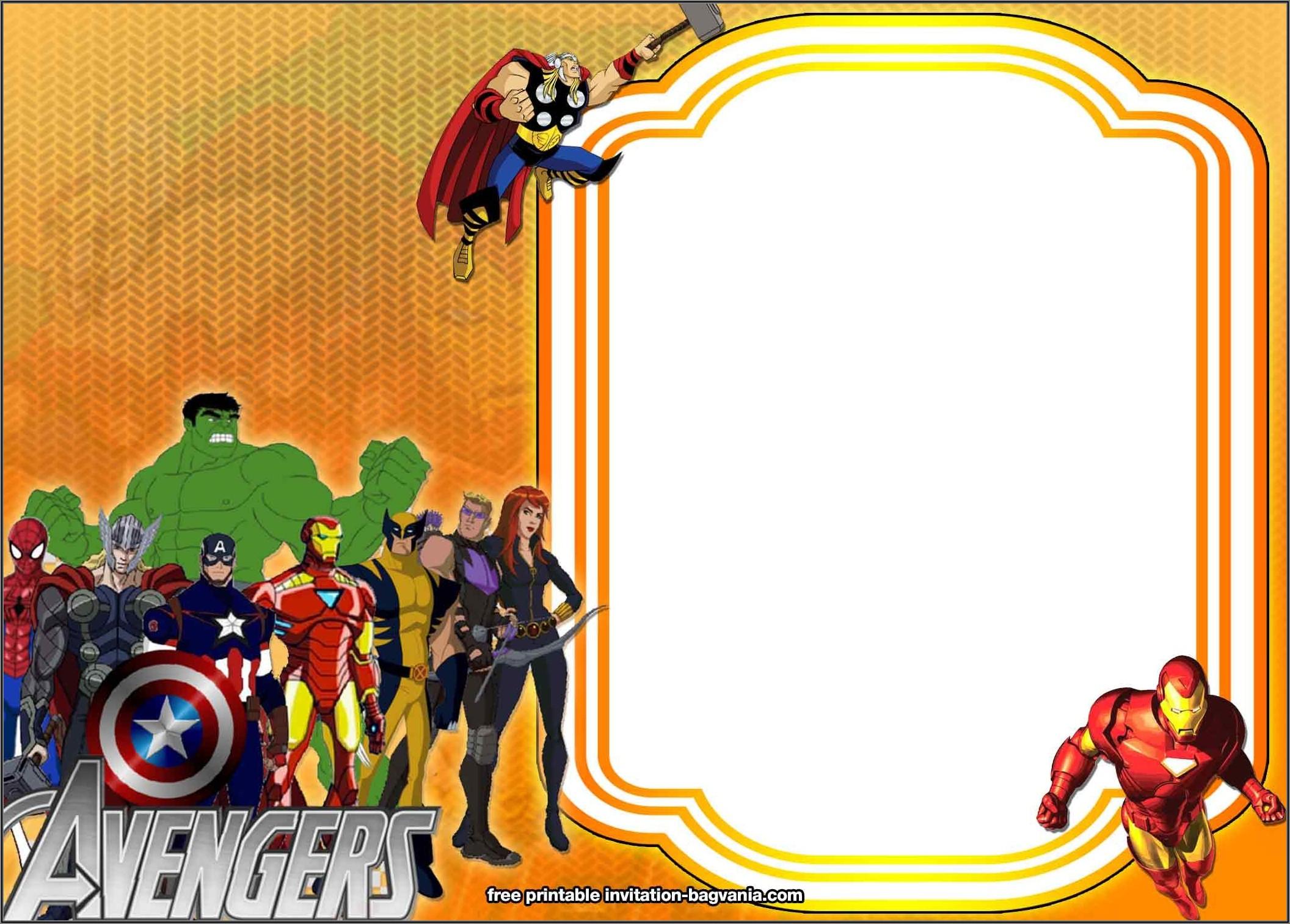 Avengers Birthday Invitation Template Free