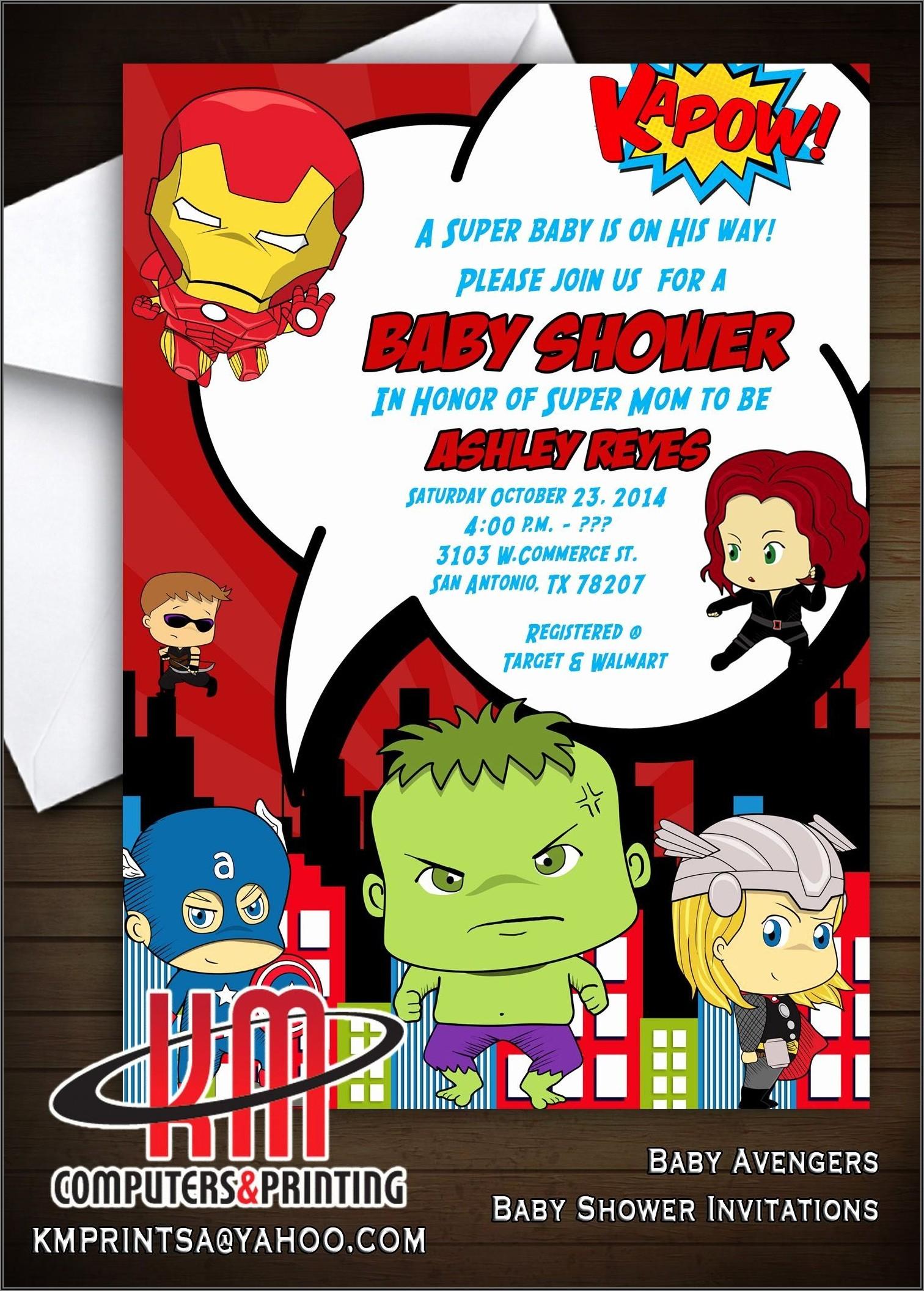 Avengers Birthday Invitations Custom