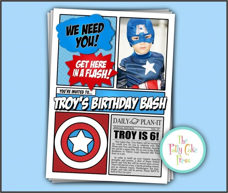 Avengers Birthday Party Invitations Printable