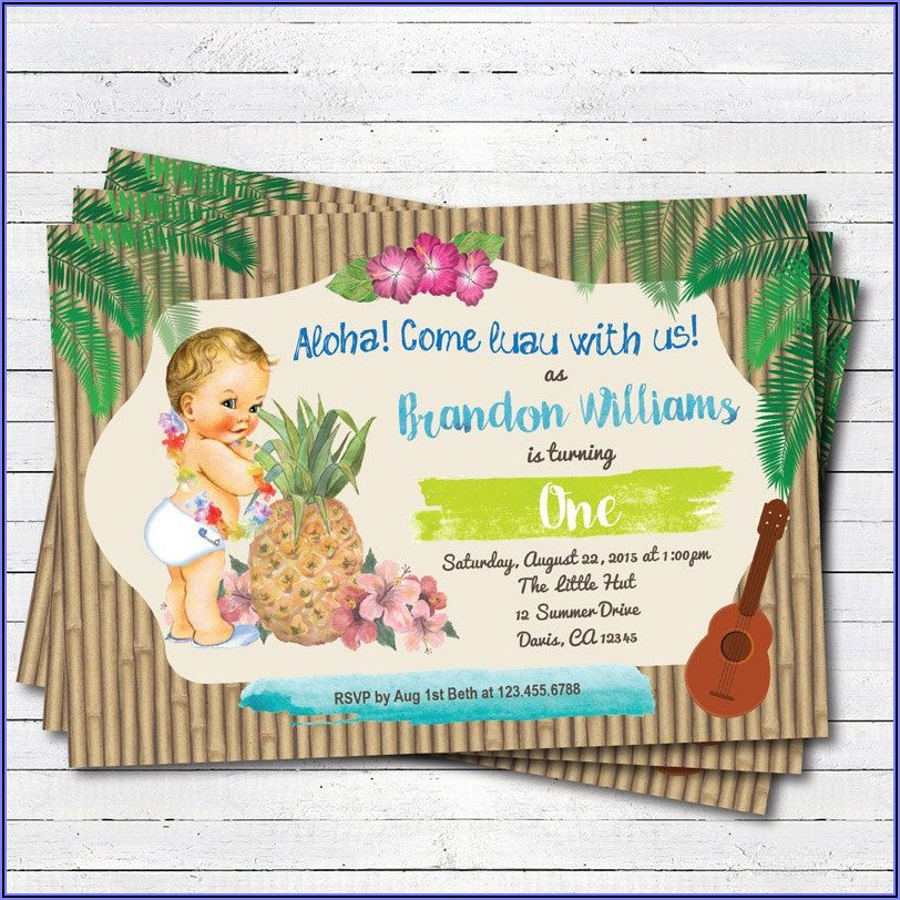 Baby First Birthday Luau Invitations
