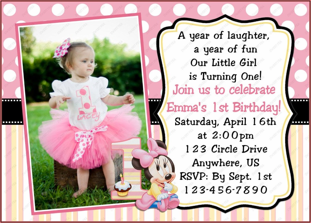 Baby Girl 1st Birthday Invitation Card