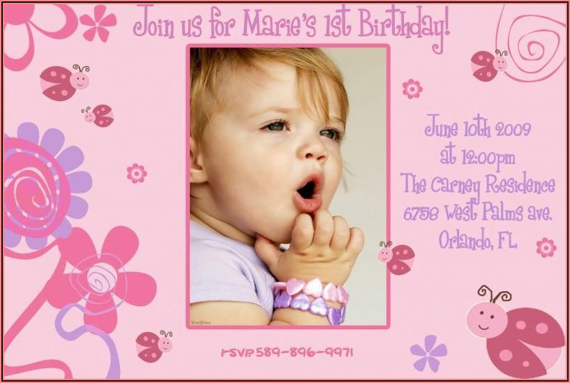 Baby Girl 1st Birthday Invitation Ideas