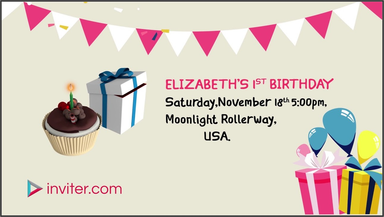 Baby Girl 1st Birthday Invitation Video
