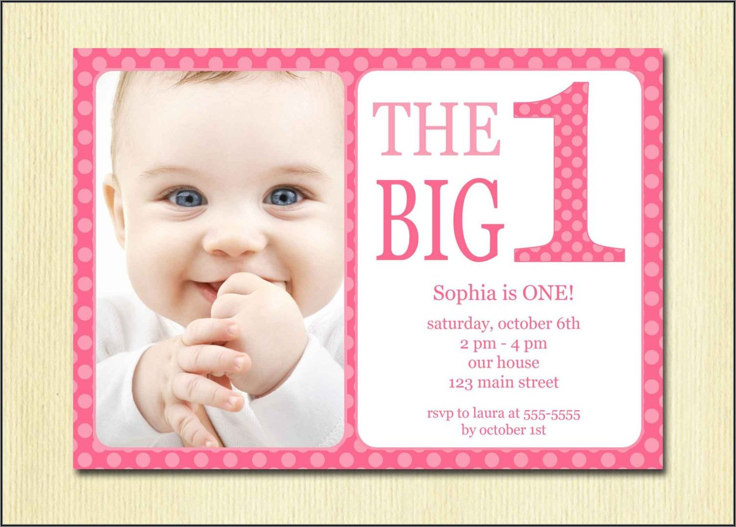 Baby Girl 1st Birthday Invitation