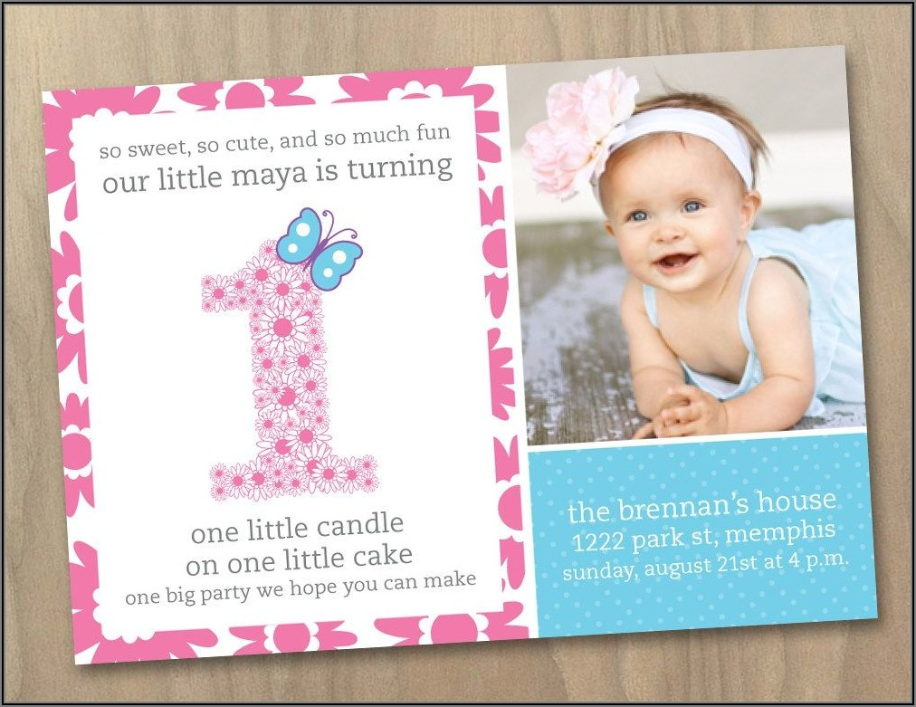 Baby Girl Invitations 1st Birthday